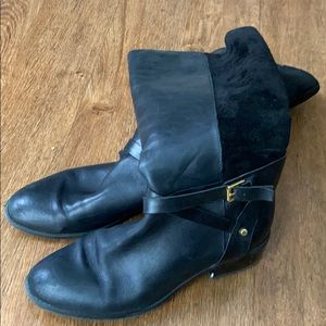 Black tall leather Ralph Lauren boots